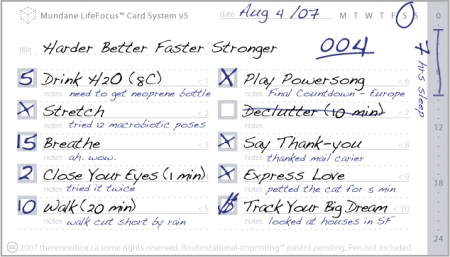 Mundane LifeFocus Card System v5 Sample